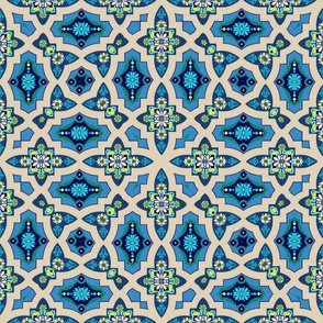 Marrakesh Bohemian Moroccan geometric tile blue