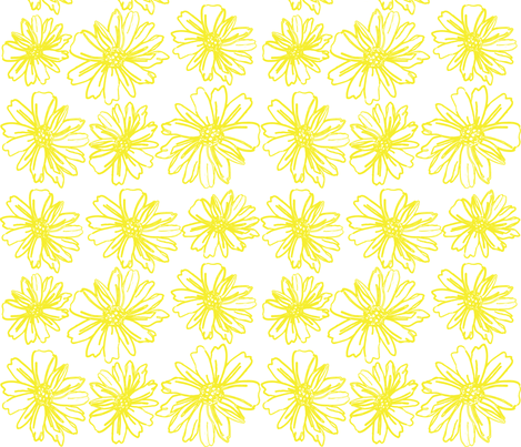 daisy_pattern_in_yellow_outline_ fabric by artgirlangi on Spoonflower - custom fabric