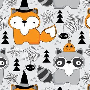 halloween foxes-and-raccoons-on-grey