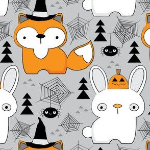 halloween foxes and bunnies