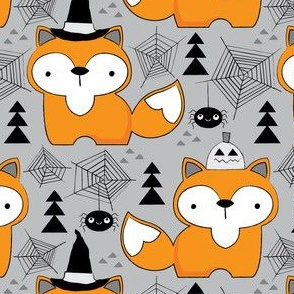 halloween foxes-on-grey