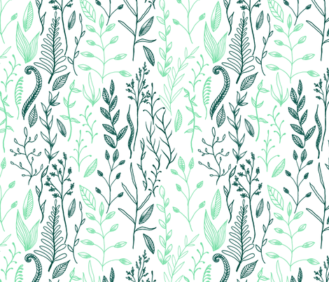 Flowers and Foliage 3 LARGE fabric by digitallove on Spoonflower - custom fabric