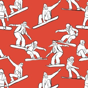 Snowboarders on Red