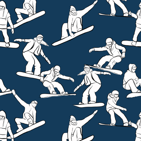 Snowboarders on Navy fabric by landpenguin on Spoonflower - custom fabric