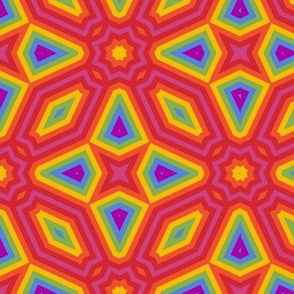 Rainbow geometric cheater quilt
