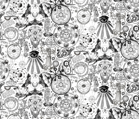Newsprint Mystic Occult fabric by xoxotique on Spoonflower - custom fabric