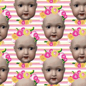 Baby girl doll head || Painted flower floral pink yellow green stripe modern _ Miss Chiff Designs