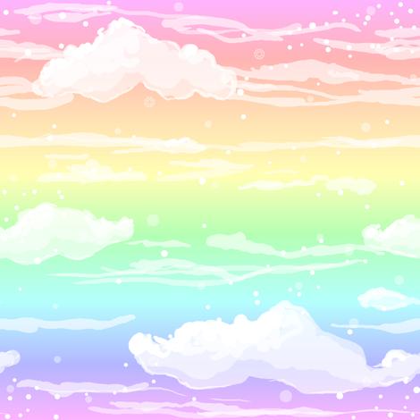 Rainbow Clouds fabric by amber_morgan on Spoonflower - custom fabric