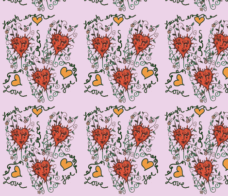 Hippie Hearts fabric by kellyprimitives on Spoonflower - custom fabric