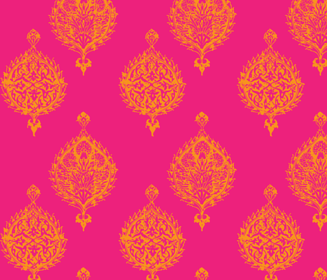 TURKISH TILE IN HOT PINK AND ORANGE fabric by wxstudio on Spoonflower - custom fabric