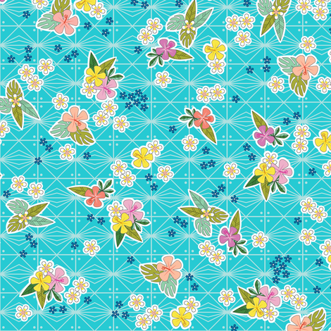 Kihapai* (Ultraviolet) || flowers flower floral garden plumeria hibiscus tropical Polynesian Hawaii Hawaiian leaves nature tribal geometric diamonds fabric by pennycandy on Spoonflower - custom fabric