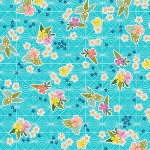 Kihapai* (Television Blue) || flowers flower floral garden plumeria hibiscus tropical Polynesian Hawaii Hawaiian leaves nature tribal geometric diamonds