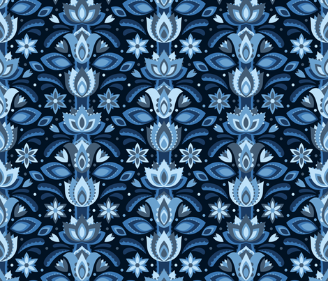 Blue Meadow fabric by robyriker on Spoonflower - custom fabric