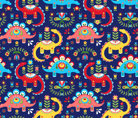 Folk Art Dinosaurs fabric by kritterstitches on Spoonflower - custom fabric