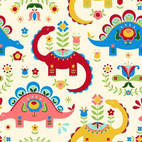 Folk Art Dinosaurs - Cream background