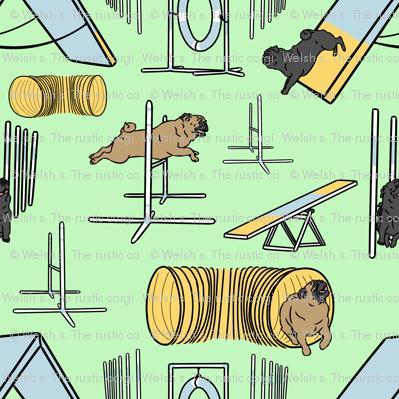 Simple Pug agility dogs - green