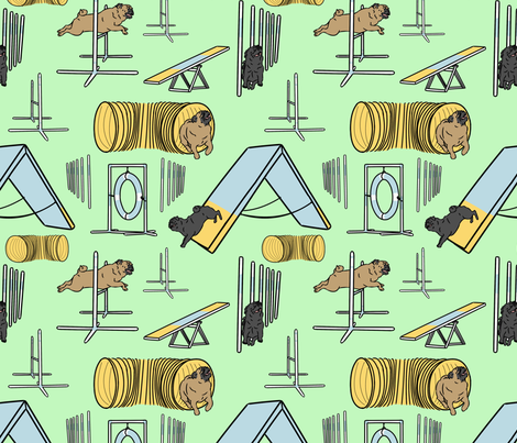 Simple Pug agility dogs - green fabric by rusticcorgi on Spoonflower - custom fabric