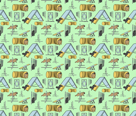 Simple Pug agility dogs - small green fabric by rusticcorgi on Spoonflower - custom fabric