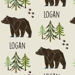 Custom Name - Logan (brown bear, tracks + pine trees)