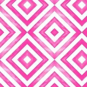 watercolor diamonds - hot pink