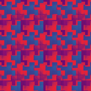 Puzzle Pieces Blue Red Purple Upholstery Fabric