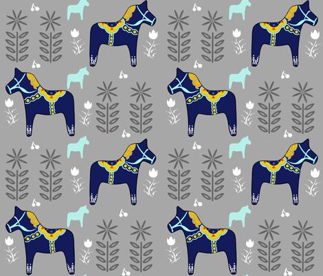 Swedish Dala Horse fabric by lanie-alvee on Spoonflower - custom fabric