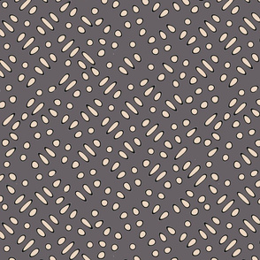 Sesame Seeds and Rice on Gray Upholstery Fabric