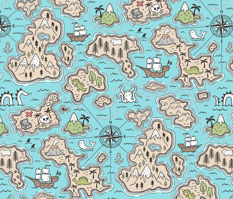 Pirate Adventure Nautical Map with Mountains, Ships, Compass, Trees & Waves in Blue Large Size fabric by caja_design on Spoonflower - custom fabric