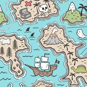 Pirate Adventure Nautical Map with Mountains, Ships, Compass, Trees & Waves in Blue Large Size