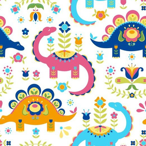 Folk Art Dinosaurs - Pink, Orange, Blue