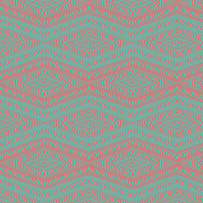 Optic Waves Turquoise and Coral