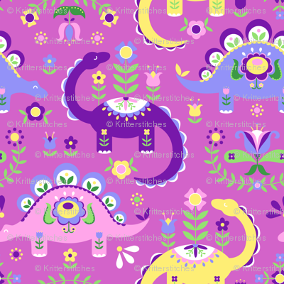 Folk Art Dinosaurs - Pink & Purple Dark