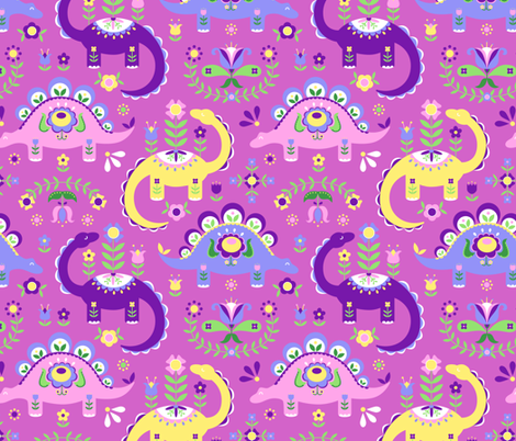 Folk art dinosaurs pink purple dark fabric for Purple dinosaur fabric