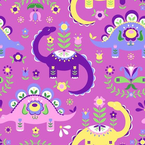 Folk Art Dinosaurs - Pink & Purple Dark