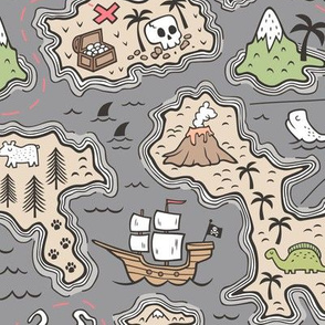 Pirate Adventure Nautical Map with Mountains, Ships, Compass, Trees & Waves on Dark Grey Large Size