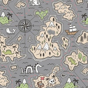 Pirate Adventure Nautical Map with Mountains, Ships, Compass, Trees & Waves on Dark Grey