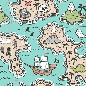 Pirate Adventure Nautical Map with Mountains, Ships, Compass, Trees & Waves on Mint Green Large Size