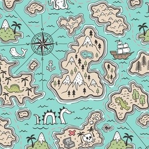 Pirate Adventure Nautical Map with Mountains, Ships, Compass, Trees & Waves on Mint Green