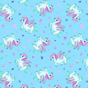 Magical Unicorns on Light Blue
