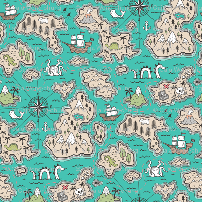 Pirate Adventure Nautical Map with Mountains, Ships, Compass, Trees & Waves on Green Teal