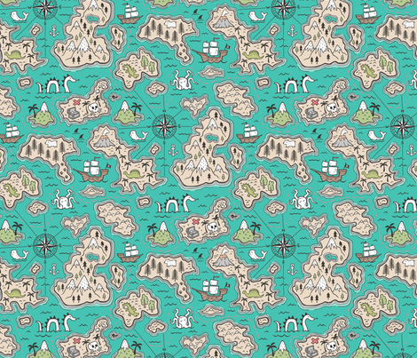 Pirate Adventure Nautical Map with Mountains, Ships, Compass, Trees & Waves on Green Teal fabric by caja_design on Spoonflower - custom fabric
