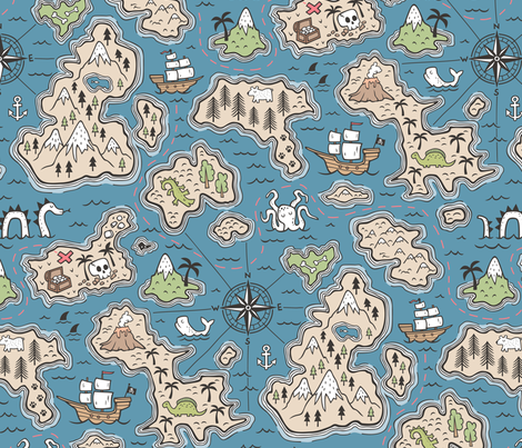 Pirate Adventure Nautical Map with Mountains, Ships, Compass, Trees & Waves on Dark Blue Navy Large Size fabric by caja_design on Spoonflower - custom fabric