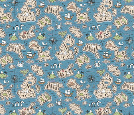 Pirate Adventure Nautical Map with Mountains, Ships, Compass, Trees & Waves on Dark Blue Navy fabric by caja_design on Spoonflower - custom fabric