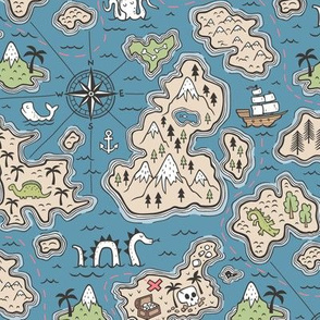 Pirate Adventure Nautical Map with Mountains, Ships, Compass, Trees & Waves on Dark Blue Navy