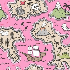 Pirate Adventure Nautical Map with Mountains, Ships, Compass, Trees & Waves on Pink  Large Size