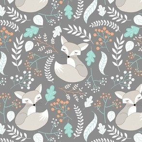 Gray Fox - Sleepy Foxes (steel grey) Baby Boy Nursery Woodland Animals Kids Childrens Bedding S2