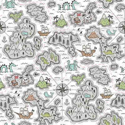 Pirate Adventure Nautical Map with Mountains, Ships, Compass, Trees & Waves on White  Large Size