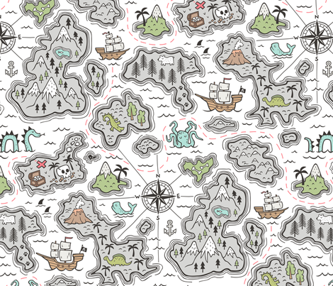 Pirate Adventure Nautical Map with Mountains, Ships, Compass, Trees & Waves on White  Large Size fabric by caja_design on Spoonflower - custom fabric