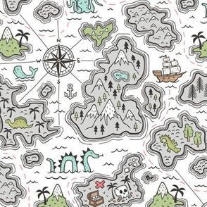 Pirate Adventure Nautical Map with Mountains, Ships, Compass, Trees & Waves on White