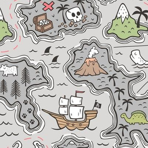 Pirate Adventure Nautical Map with Mountains, Ships, Compass, Trees & Waves on Grey Large Size